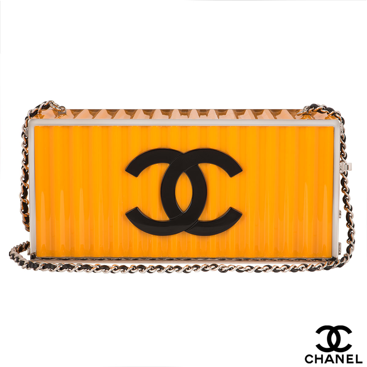 Chanel Paris-Hamburg Yellow Lucite Shipping Container Clutch Bag